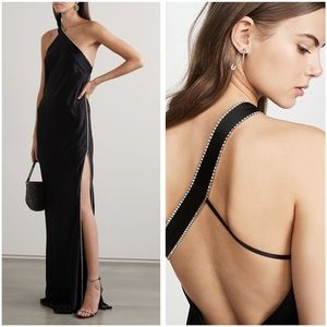 Michelle Mason One Shoulder Crystal Satin Gown